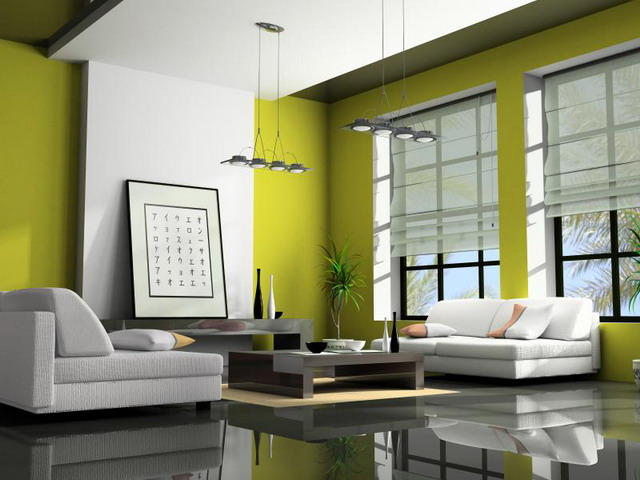reflective flooring and light furniture